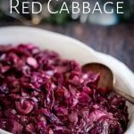 a spoon in the dish of braided red cabbage with text at the tip