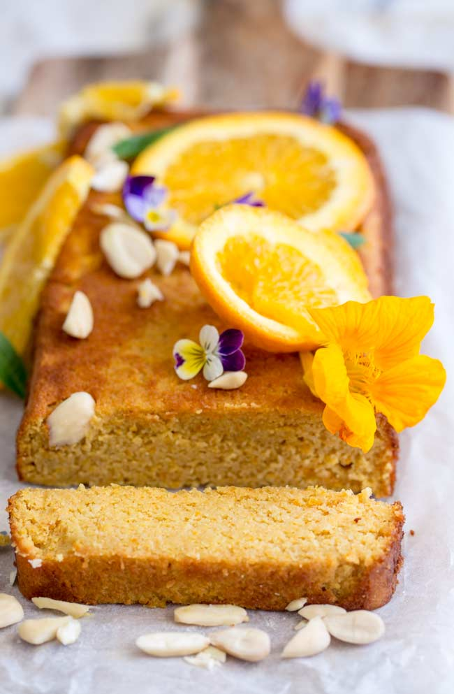 close up showing the dense moist texture of the orange and almond cake