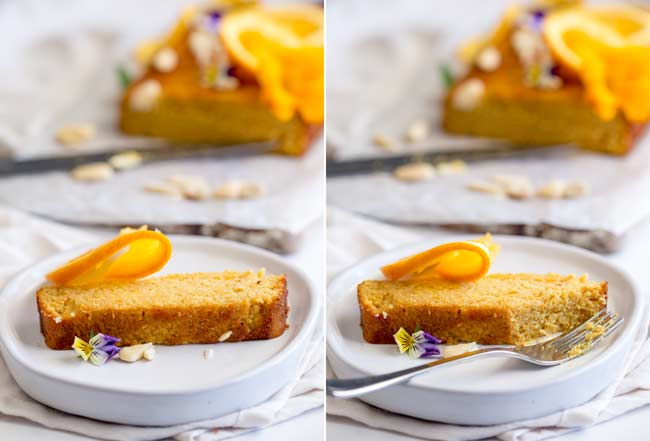 2 pictures showing a slice of orange cake on a plate