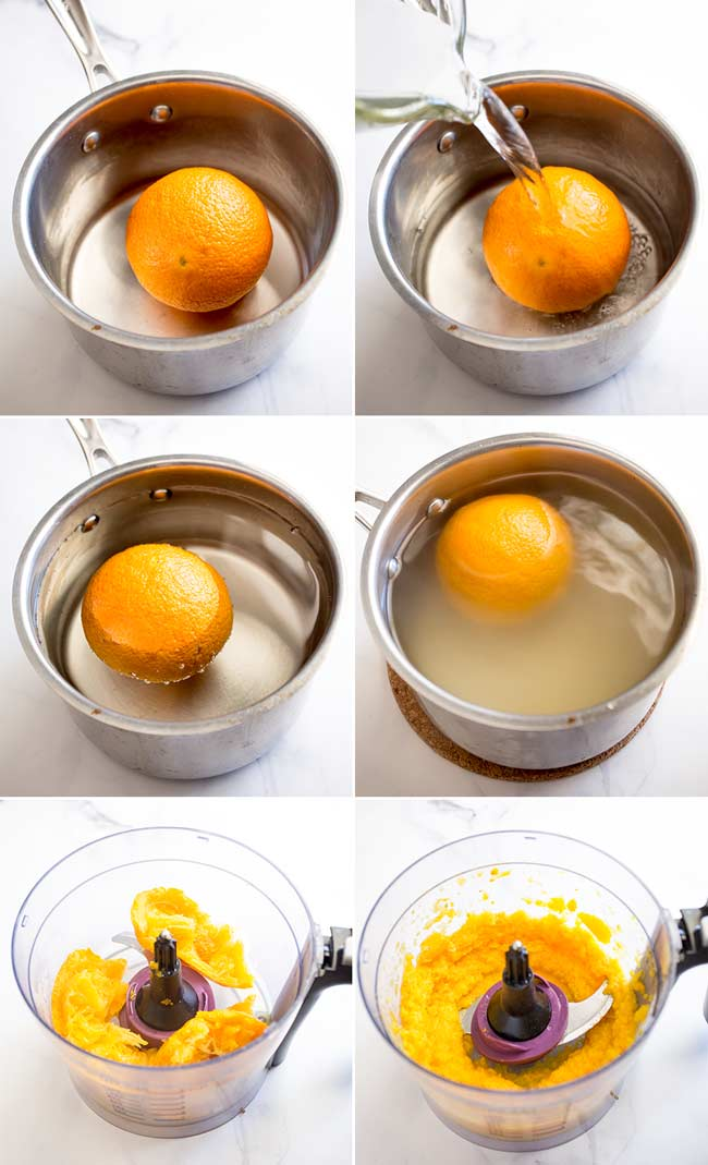 6 small pictures showing the prices of cooking the orange for the orange cake