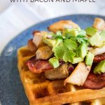 Pin Image: overhead view of the turkey waffles with text at the top