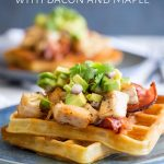 Pin Image: head on view of the turkey waffles with text at the top