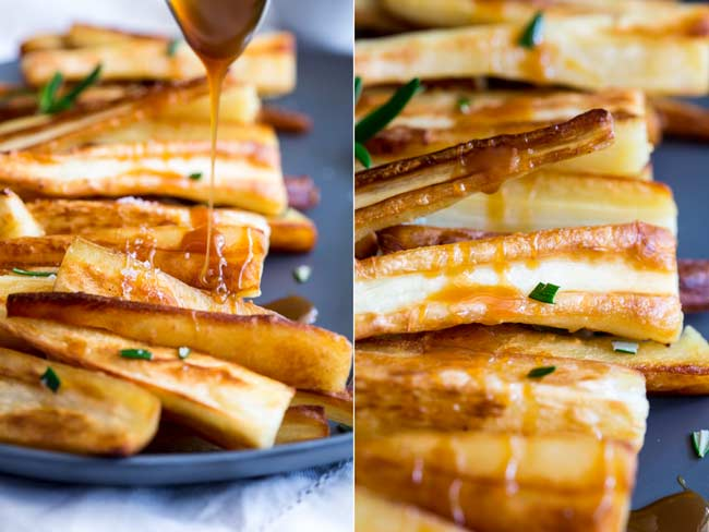 split picture showing close ups of the caramel sauce being drizzled over the parsnips