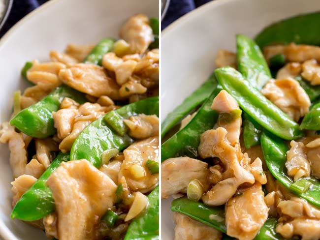 split picture showing the sauce coating the chicken and snow pea stir fry