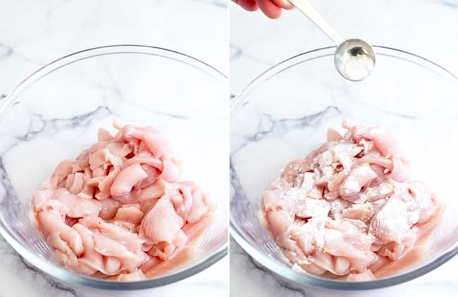 split picture showing raw chicken in a bowl being sprinkled with baking soda