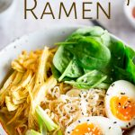 pinterest image close up of the turkey ramen with text at the top