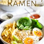 pinterest image of a turkey ramen bowl with text at the top