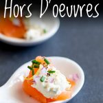 Close up on the smoked salmon and cream cheese hors d'oeuvres with text at the top