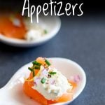 Close up on the smoked salmon and cream cheese appetizers with text at the top