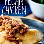 4 chicken breasts on a plate topped with honey pecans