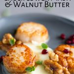 close up on the seared scallop sat on cauliflower puree with text at the top
