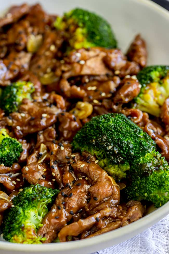 overhead showing the brown saucy beef and crisp broccoli
