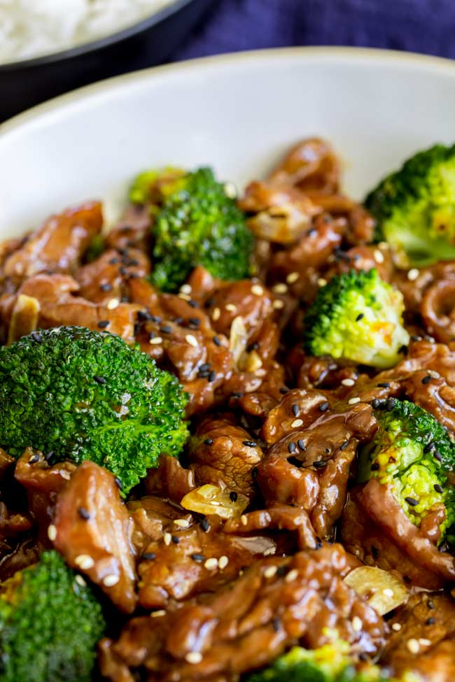 close up on the broccoli within the beef and broccoli stir fry