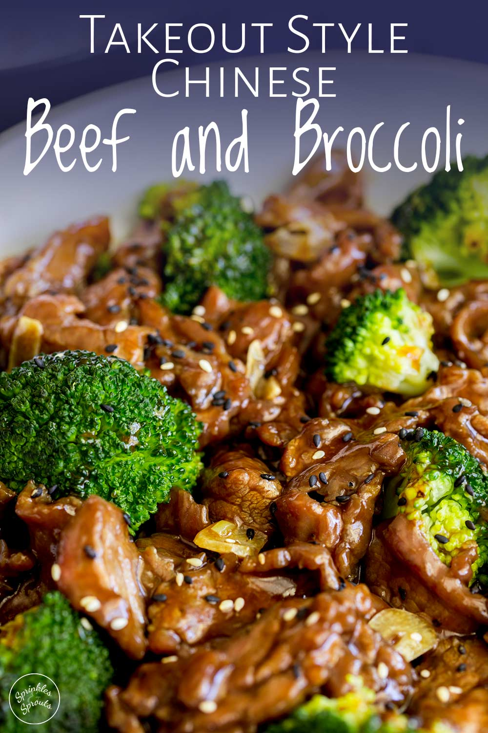 Close up on the bowl of beef and broccoli with the text at the top