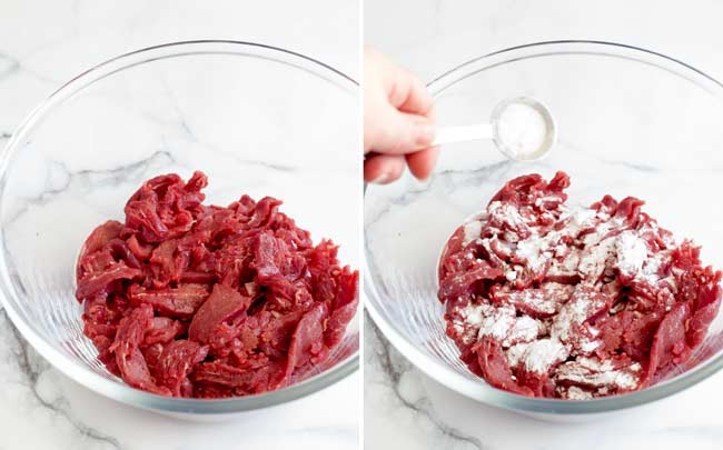 split picture showing beef being sprinkled with baking soda