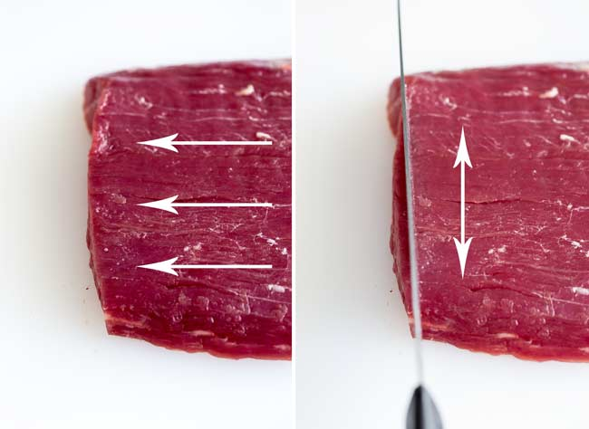 Split picture showing the grain of the flank steak and how to cut against it