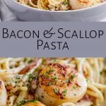 two pictures of scallop pasta with text in the middle