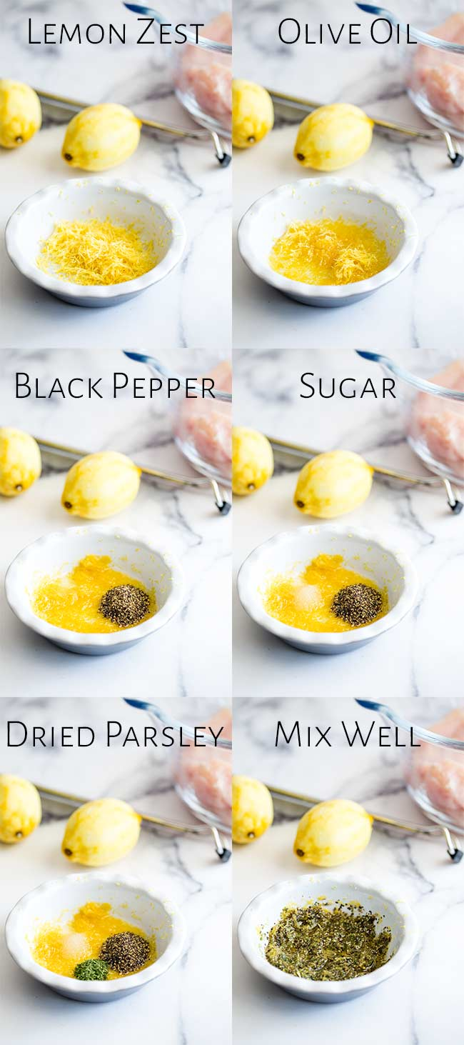 6 pictures showing the ingredients in the lemon pepper seasoning rub