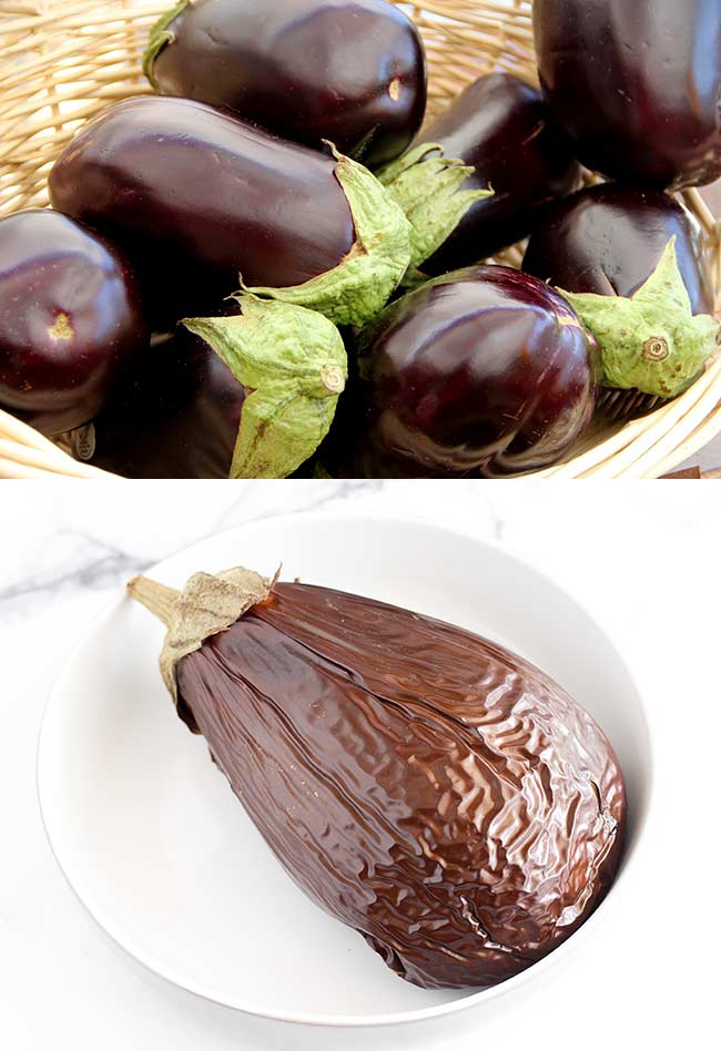 split picture showing a raw eggplant and a roasted eggplant