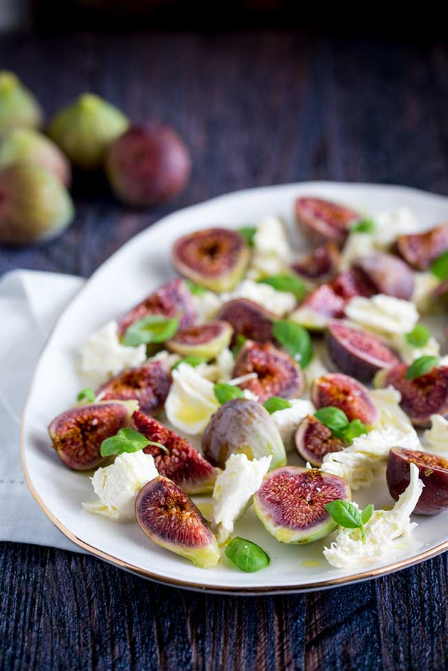 overhead view showing texture of the figs in the fig caprese salad