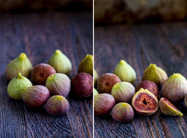 fresh figs sat on a wooden table