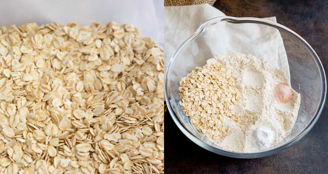split picture showing the oats and the dry ingredient in a bowl.