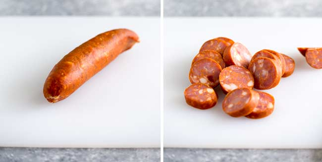 two pictures of hard cured chorizo on a white chopping board