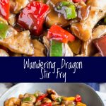 split picture showing the close up and table view of the stir fry with text in the middle