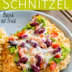 pin image of Mexican chicken schnitzel with text at the top