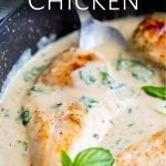 pin image with a picture of chicken in sauce and text at the top