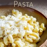 close up on the cheese pasta with text at the top