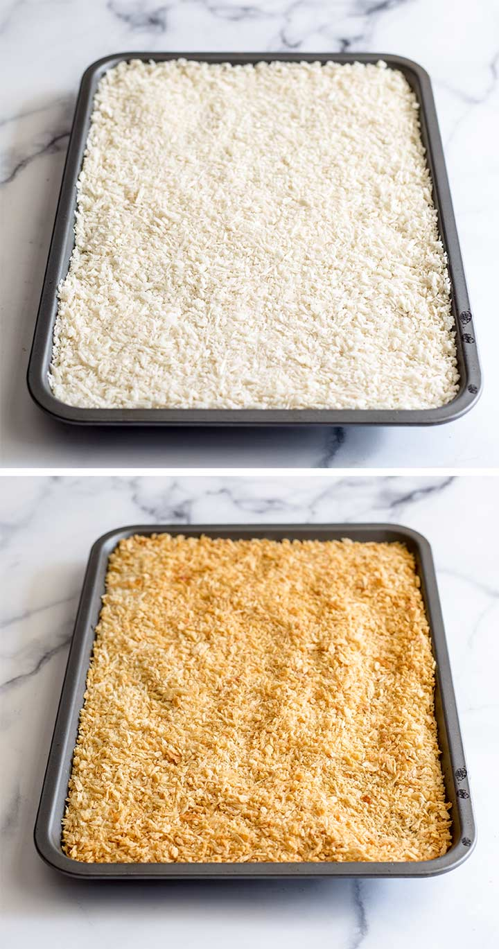 two trays of breadcrumbs showing the difference in colour after baking