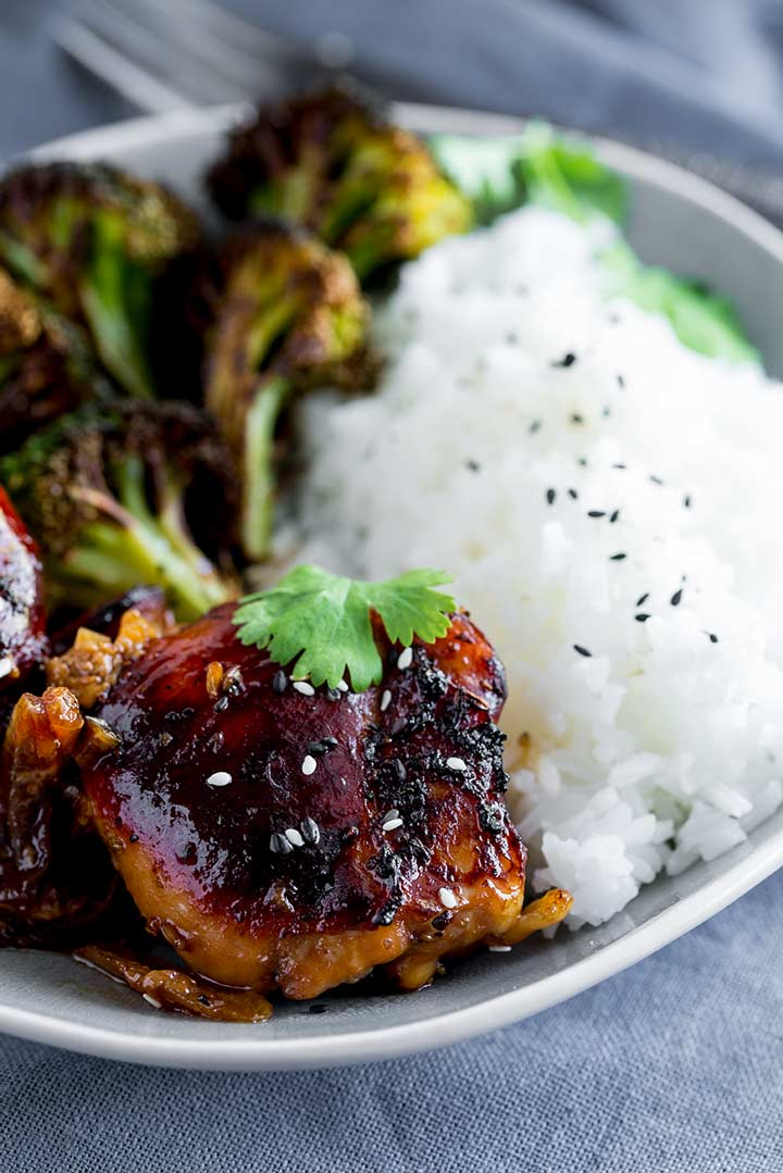 Close up on the caramelized top of the honey soy chicken