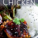 Honey Soy chicken thighs on a plate with text overlaid at top