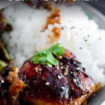 honey soy chicken with rice and text overlaid