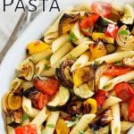 close up on the roasted veg in the pasta with text overplayed at the top left