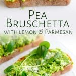 two picture of pea bruschetta with text between them