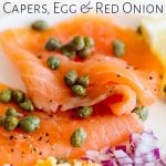 close up on the smoked salmon with text at the top