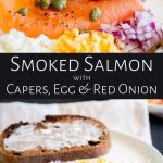 split picture of a smoked salmon appetizer with text in the middle