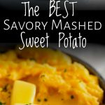 split photo of sweet potato mash with text in the middle