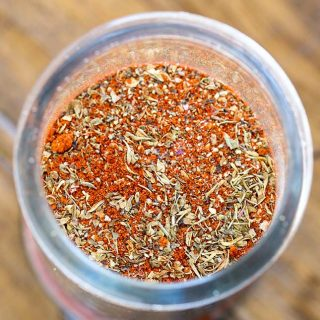 close up of the inside of a jar of creole seasoning