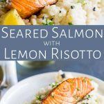 split picture showing two pictures of salmon risotto