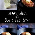 Four pictures showing the blue cheese butter as it melts onto steak, with text in the middle