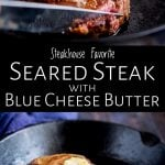 two pictures of a steak in a skillet with text iin the middle