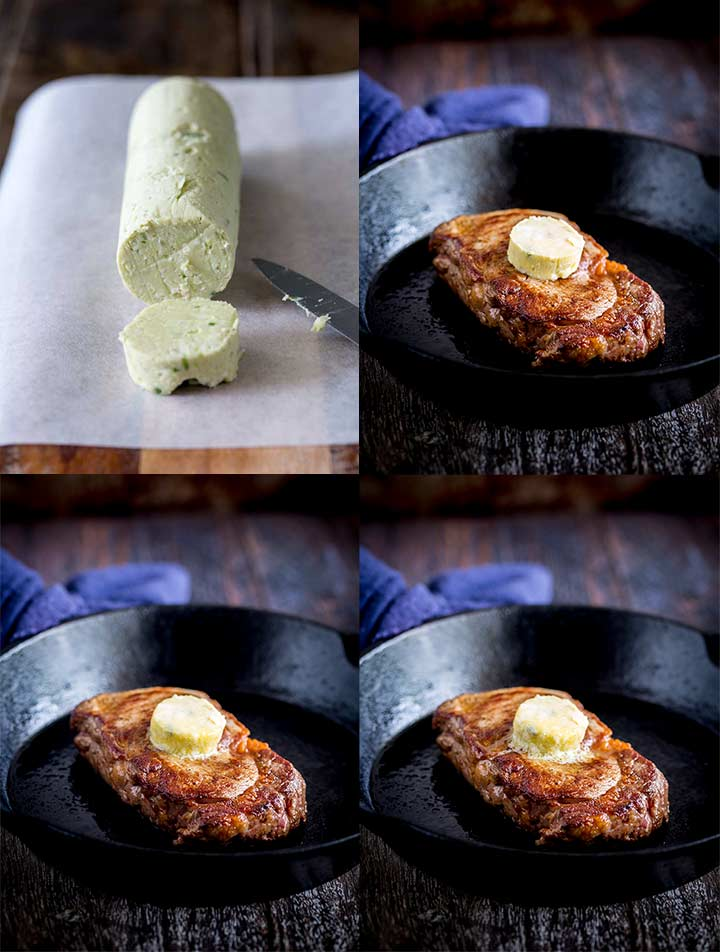 4 pictures showing the blue cheese butter and how it melts onto the steak