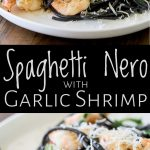 two close ups of squid ink shrimp pasta with text between them