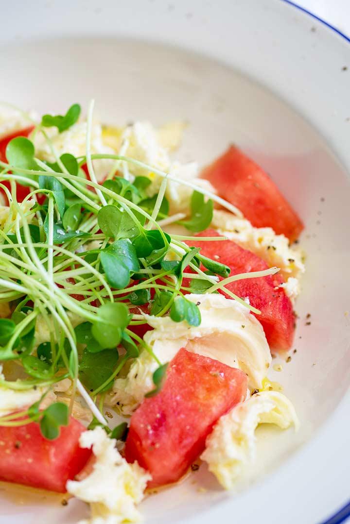 overhead shot of watermelon chunks, mozzarella and micro greens in a white bowl