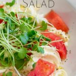 close up on the watermelon salad wit text at the top