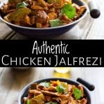 two pictures of chicken jalfrezi with text between them