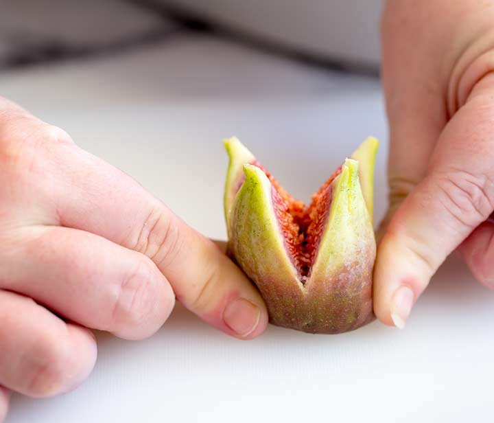 a cut fig being opened like a flower